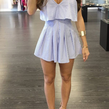 Blue Vertical Stripe Strappy playsuit