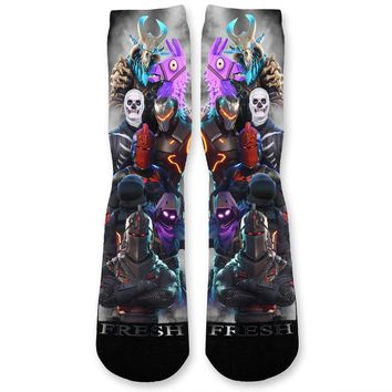 All Over Fortnite Blast Custom Athletic Fresh Socks