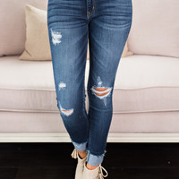 Make A Move Distressed Ankle KanCan Jeans (Dark Wash)