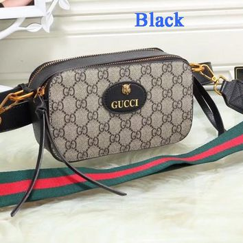 Gucci Trending Fashion Tiger Head Rectangle Bag Women Waist Bag Shoulder Bag B-WMXB-PFSH Black