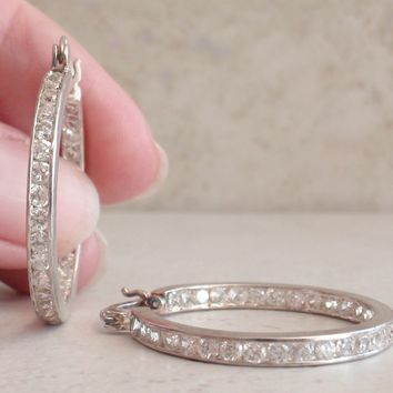 Cubic Zirconia Hoops Sterling Silver Earrings Channel Set Vintage