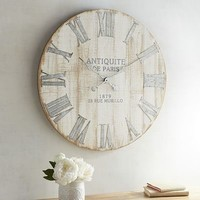 Whitewashed Wall Clock