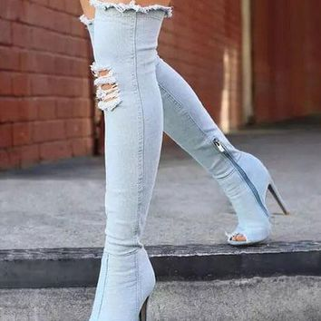Stretch Denim Over The Knee Thigh High Peep Toe High Heels Boots