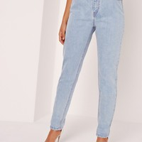 Missguided - Riot High Rise Mom Jeans Pink Stitch Mid Wash Blue