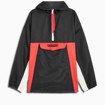anorak windbreaker / black + red + ivory