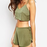 ASOS Khaki Tie Shoulder Crop & Short Set