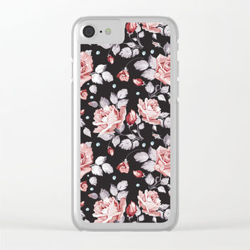 Vintage Pink Rose Flowers Clear iPhone Case by Smyrna