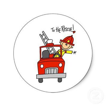Stick Figure Firefighter with Fire Engine Stickers from Zazzle.com