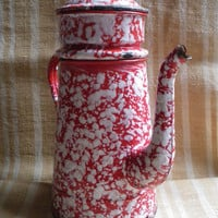 Vintage french enamel tin coffee pot,marbled red and white,french country,french inspired,kitchen utensil.1930-1940