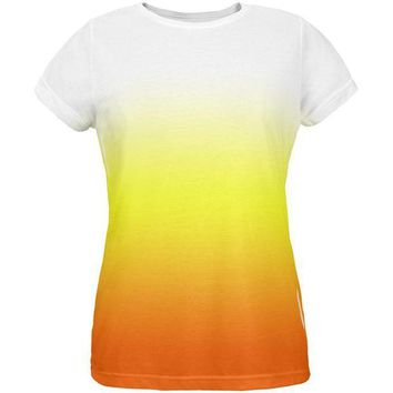 PEAPGQ9 Halloween Candy Corn Ombre Costume All Over Womens T Shirt