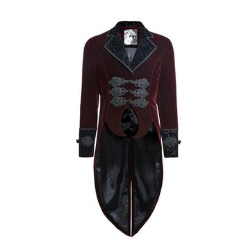 Trendy Punk Rave Red Men's steampunk gothic Vampire Jacket Coat Rock Gentle Tailcoat Y635 AT_94_13