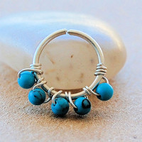 Tiny Cartilage Hoop - Sterling Silver Wrapped with Turquoise Gemstones
