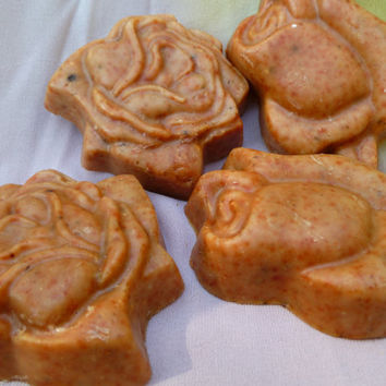 All natural rose soap - handmade vegan soap - herbal soap - facial soap - chamomile soap - fun shape soap - olive oil soap