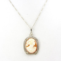 Antique 14K Gold Cameo Pendant Necklace Art Deco Era Carved Shell White Gold Filigree Bridal Wedding Fine Jewelry