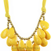 Yellow Necklace, Bib Necklace, Yellow Statement Necklace, Tear Drop Necklace, Statement Necklace
