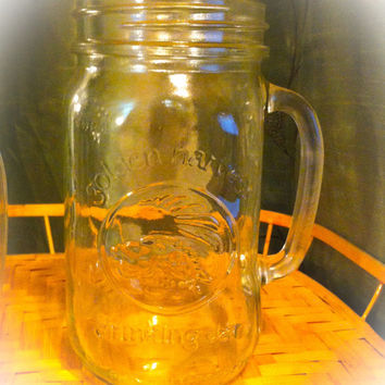 32oz mason jar mug.  Ice tea, a cold beer or whatever your favorite beverage is....
