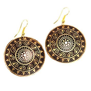 Sun Medallion Earrings - Golden - Matr Boomie (Jewelry)