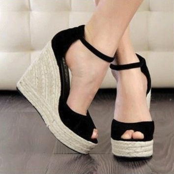 Women Shoes  2015 Ladies High Heel Sandals,Summer Women's Open Toe Button Straw Braid Wedges Platform Beach Sandals = 5708910017