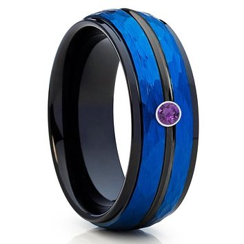 Blue Tungsten Band - Amethyst Wedding Band - Blue Tungsten Ring - 8mm