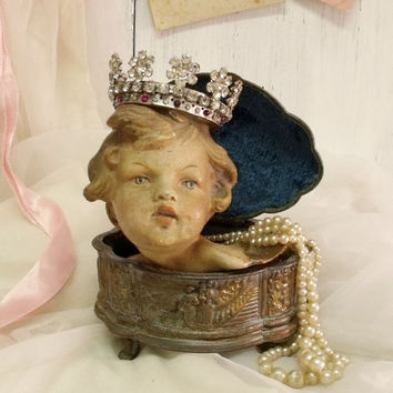 Vintage rhinestones Crown cherub religious statue Virgin Mary head adorn Shabby chic crown home decor