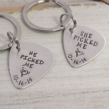 Personalized Guitar Pick Couple Keychain Set   Hand Stamped Guitar Pick Keychains