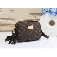 LV X Supreme Stylish Women Shopping Bag Leather Tassel Shoulder Bag Crossbody Satchel Coffee I-a-BBPFCJ