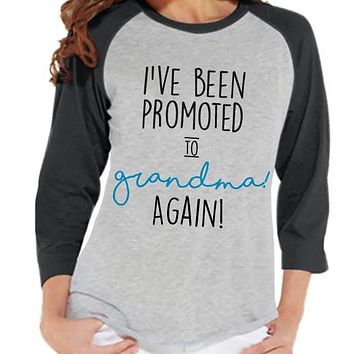 Pregnancy Announcement - Promoted to Grandma Again Shirt - Grey Raglan Shirt - Pregnancy Reveal Idea - Surprise New Grandparents - Its a Boy