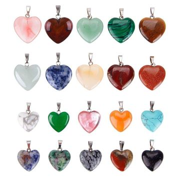 20 Pieces Heart Shaped Stone Pendants Charms Crystal Chakra Beads for DIY Necklace Jewelry Making, 2 Sizes, Assorted Color