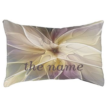 Floral Fantasy Pattern Abstract Fractal Art Name Dog Bed
