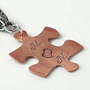 Autism mom necklace, puzzle piece necklace, hand stamped necklace, Autism necklace, autism jewelry, personalized, monogram necklace,