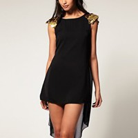 Rare | Rare Cape Dress With Sequin Shoulders at ASOS