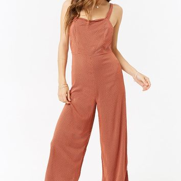 Polka Dot Cap Sleeve Jumpsuit