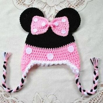 ESBON free shipping, Halloween Handmade Crochet Black and pink Minnie baby hat caps Kids Beanie , 100% cotton baby girls hat