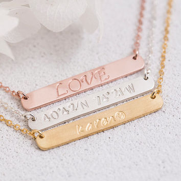 Hand Stamped Bar Necklace Personalized Bar Necklace Birth Date Name Initial Roman Numeral Gift for Her Mom Sterling Silver LUVINMARK LVMKH22