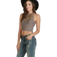 Cruise Taupe Knit Halter Top