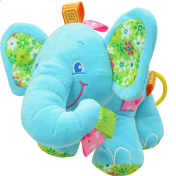New Animal Elephant in pink Soft Plush Crib Bed Car Hanging Hand Rattles Baby Toys Girl Boy Gift Toys christmas gift