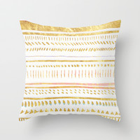 GOLD TRIBE Throw Pillow by Rebecca Allen