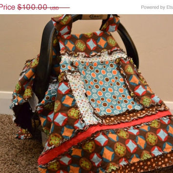 25% off Christmas Sale CAR SEAT Tent, Rag Quilt, Nursing Cover, Brown, Blue, Boy, 3 in 1 Ready to Ship