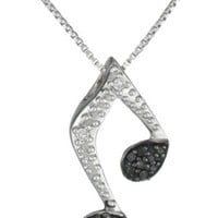 Sterling Silver Black and White Diamond Music Note Pendant Necklace (1/10 cttw, H-I Color, I2-I3 Clarity), 18""