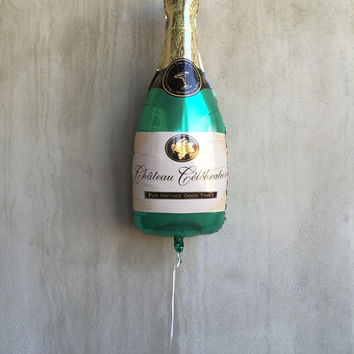 "Champagne Bottle Balloon, 36"", Champagne Balloons, Foil, Bubbly Bar, Birthday, Bachelorette Party, Decor, Wedding, Bridal Shower, Party"
