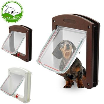 Dog Cat Flap Doors with 4 Way Lock for Pets Entry Exit