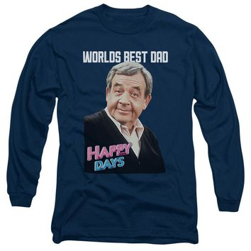 Happy Days Long Sleeve T-Shirt Worlds Best Dad Navy Tee
