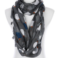 Cozy by LuLu- Hedgehog Print Infinity Scarf- Gray