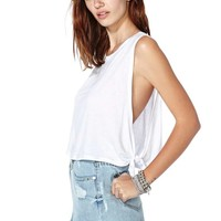 Tied Up Crop Tank - White
