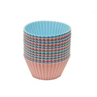 Chef Select Silicone 12-Piece Silicone Cupcake Liners, Pink and Blue