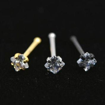 ac DCCKO2Q 2Piece 20Gx6x2mm Gold Square Zircon Nose Ring Stud Rings Silver Piercing Tragus Ear Piercing Earring Nose Nail Body Jewelry