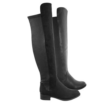 Twisty Over Knee Pull On Boots - Womens Thigh High Engineered Slouch Boots
