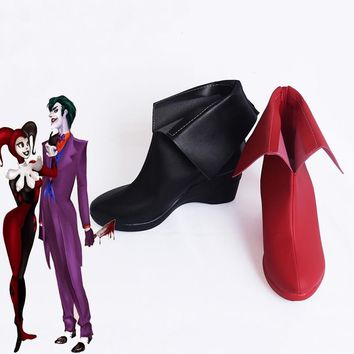 Batman DC Comic Suicide Squad Harley Quinn Boots Women Shoes High Platform Clown Cosplay Boots Handmade Customized SZ-0027