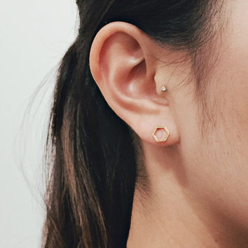 Hexagon Earrings / Gold Hexagon Stud Earrings / Geometric Earrings / Dainty Hexagon Earrings