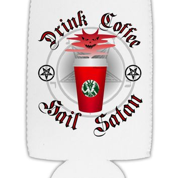 Red Cup Drink Coffee Hail Satan Collapsible Neoprene Tall Can Insulator by TooLoud
